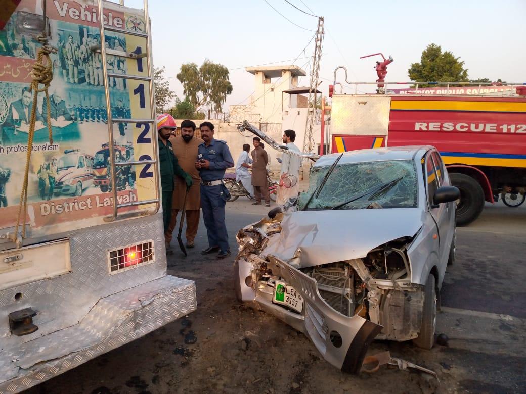 لیہ : کار اور ٹریکٹر ٹرالی میں تصادم